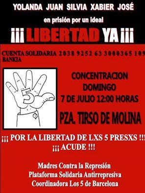 7 De Julio, Concentración En Madrid Por La Libertad De Los Cinco De Barcelona